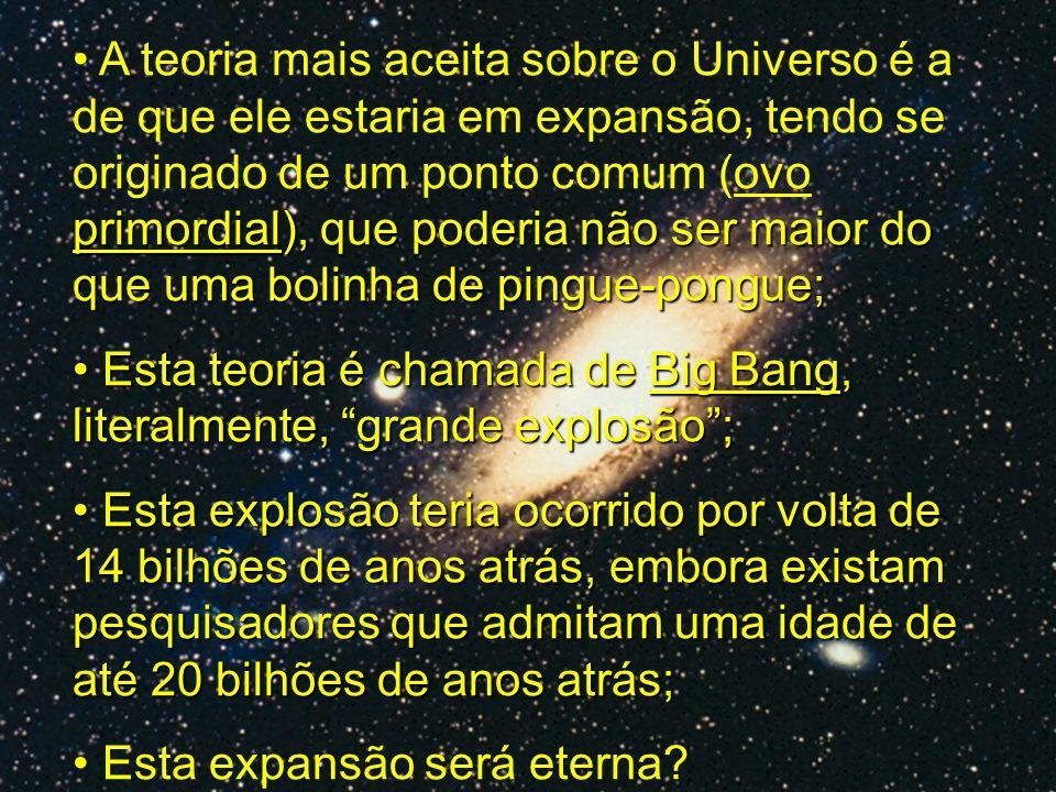 primordial), que poderia não ser maior do que uma bolinha de pingue-pongue; A teoria mais aceita sobre o Universo é a de que ele estaria em expansão,