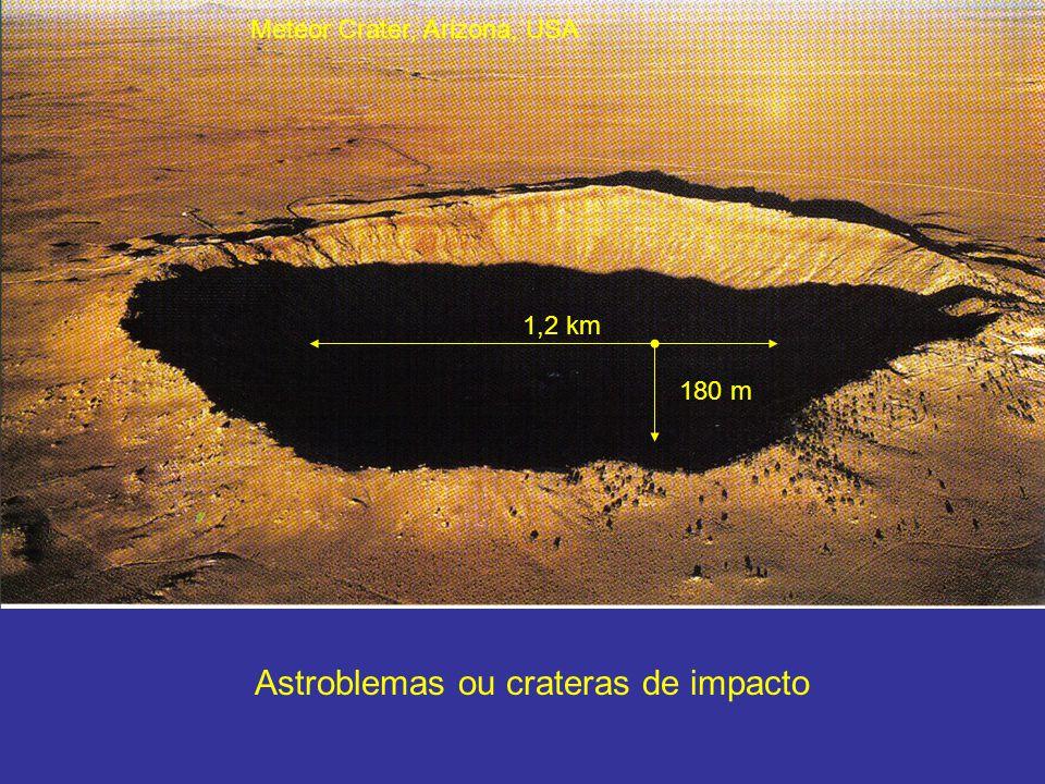 Astroblemas ou crateras de impacto Meteor Crater, Arizona, USA 1,2 km 180 m