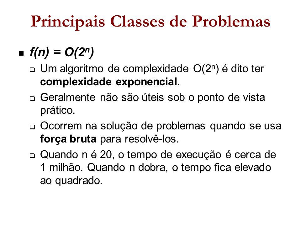 Principais Classes de Problemas f(n) = O(2 n )  Um algoritmo de complexidade O(2 n ) é dito ter complexidade exponencial.
