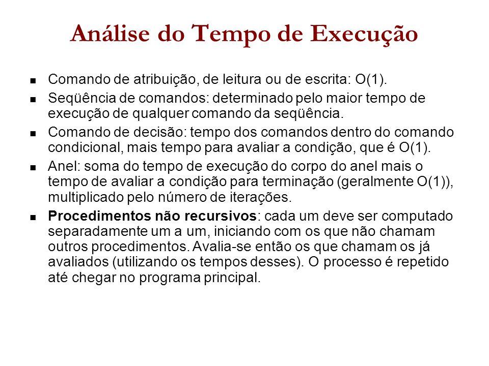 Análise do Tempo de Execução Comando de atribuição, de leitura ou de escrita: O(1).