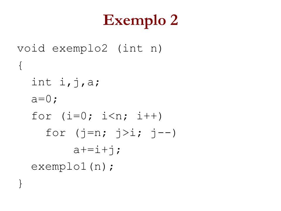 Exemplo 2 void exemplo2 (int n) { int i,j,a; a=0; for (i=0; i<n; i++) for (j=n; j>i; j--) a+=i+j; exemplo1(n); }