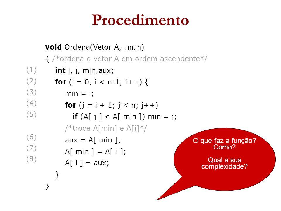 (1)  (2)  (3)  (4)  (5)  (6)  (7)  (8)  void Ordena(Vetor A,, int n ) { /*ordena o vetor A em ordem ascendente*/ int i, j, min,aux; for (i = 0; i < n-1; i++) { min = i; for (j = i + 1; j < n; j++) if (A[ j ] < A[ min ])  min = j; /*troca A[min] e A[i]*/ aux = A[ min ]; A[ min ] = A[ i ]; A[ i ] = aux; } O que faz a função.