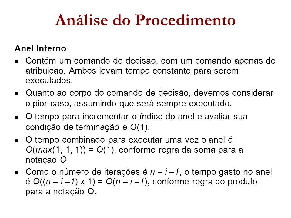 Anel Interno Contém um comando de decisão, com um comando apenas de atribuição.