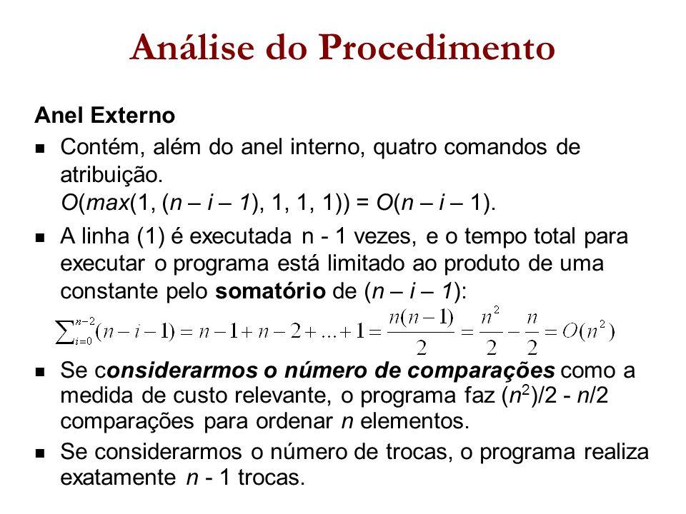 Anel Externo Contém, além do anel interno, quatro comandos de atribuição.