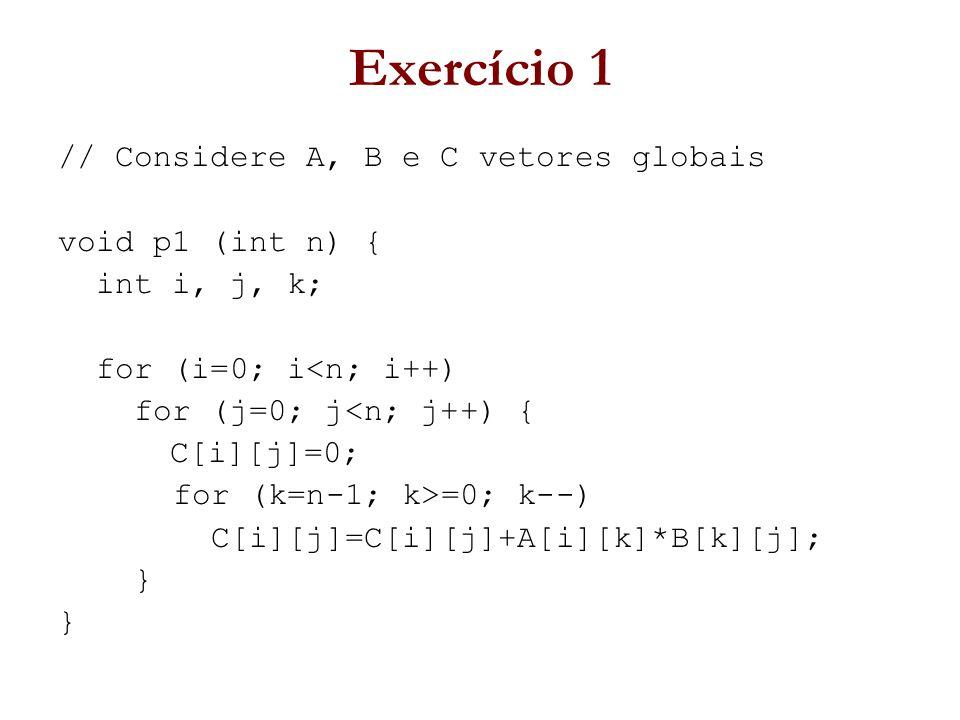 Exercício 1 // Considere A, B e C vetores globais void p1 (int n) { int i, j, k; for (i=0; i<n; i++) for (j=0; j<n; j++) { C[i][j]=0; for (k=n-1; k>=0; k--) C[i][j]=C[i][j]+A[i][k]*B[k][j]; }
