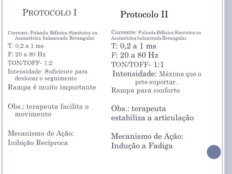 P ROTOCOLO I Corrente: Pulsada Bifásica Simétrica ou Assimétrica balanceada Retangular T: 0,2 a 1 ms F: 20 a 80 Hz TON/TOFF- 1:2 Intensidade: Suficien