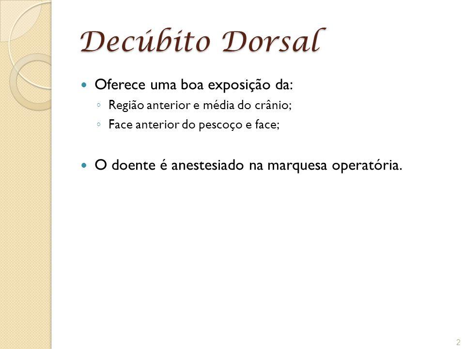 Decúbito Dorsal Oferece uma boa exposição da: ◦ Região anterior e média do crânio; ◦ Face anterior do pescoço e face; O doente é anestesiado na marque