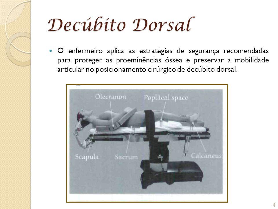 Decúbito Dorsal O enfermeiro aplica as estratégias de segurança recomendadas para proteger as proeminências óssea e preservar a mobilidade articular n