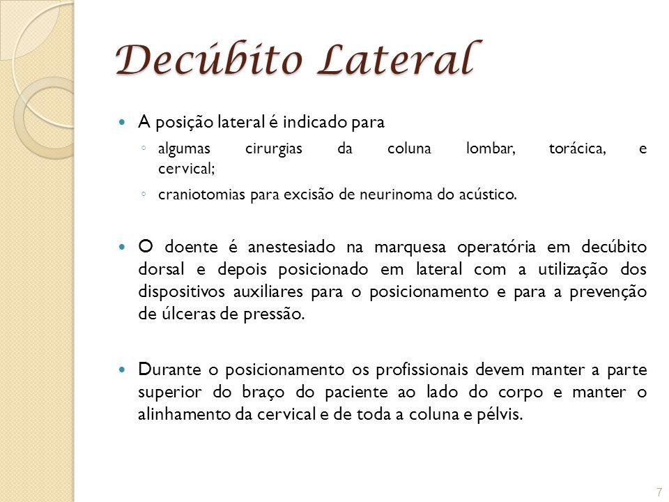 Decúbito Lateral A posição lateral é indicado para ◦ algumas cirurgias da coluna lombar, torácica, e cervical; ◦ craniotomias para excisão de neurinom