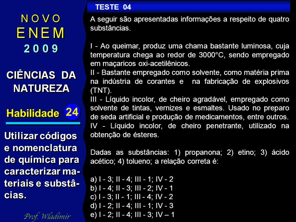 Habilidade 24 TESTE 04 A seguir são apresentadas informações a respeito de quatro substâncias.