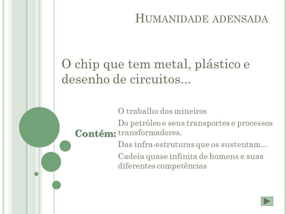O chip que tem metal, plástico e desenho de circuitos...