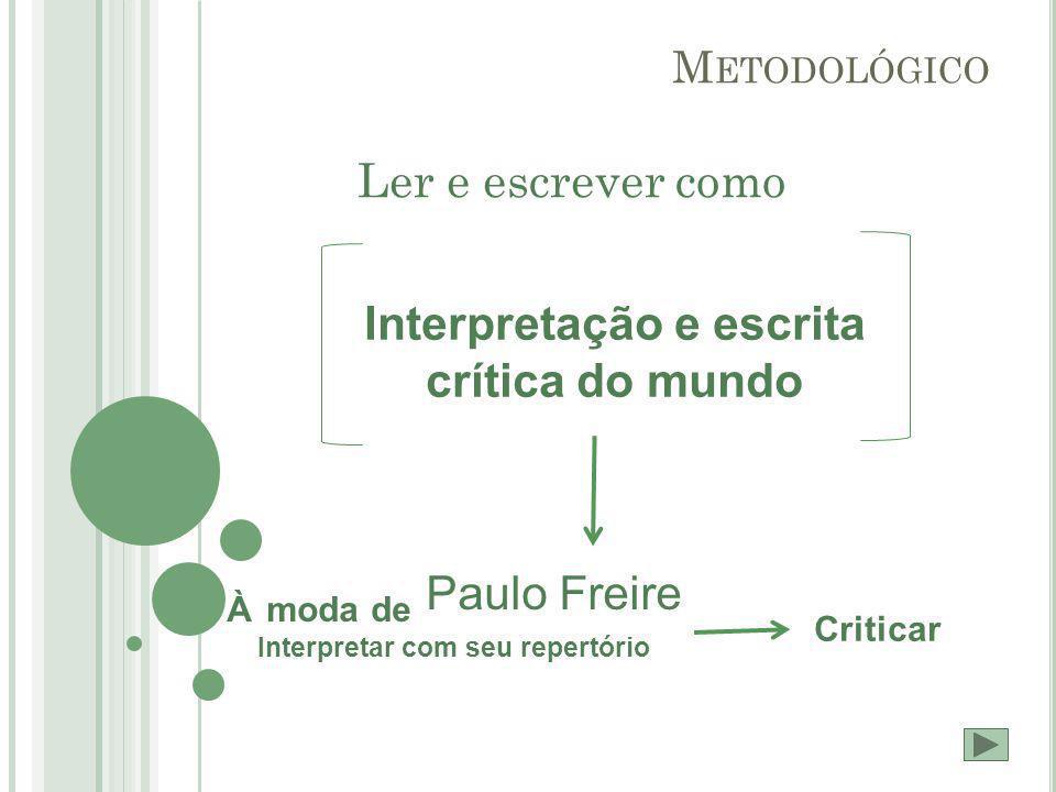 M ETODOLÓGICO Ler e escrever como Interpretação e escrita crítica do mundo À moda de Paulo Freire Interpretar com seu repertório Criticar