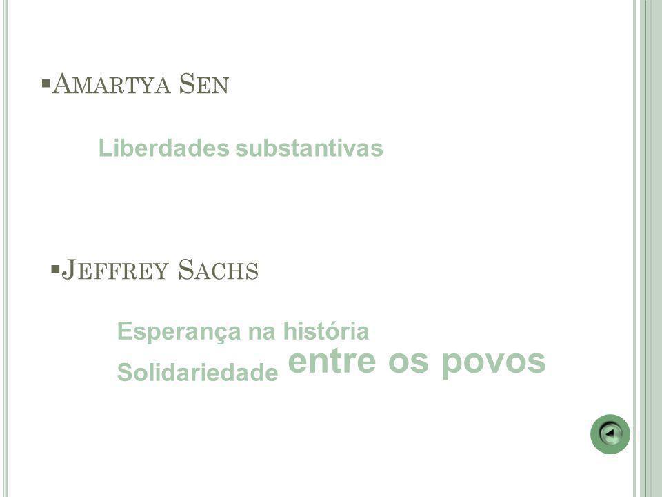  A MARTYA S EN Liberdades substantivas  J EFFREY S ACHS Esperança na história Solidariedade entre os povos