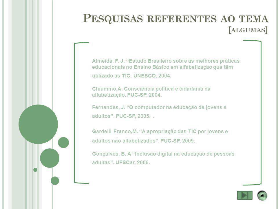 P ESQUISAS REFERENTES AO TEMA [ ALGUMAS ] Almeida, F.