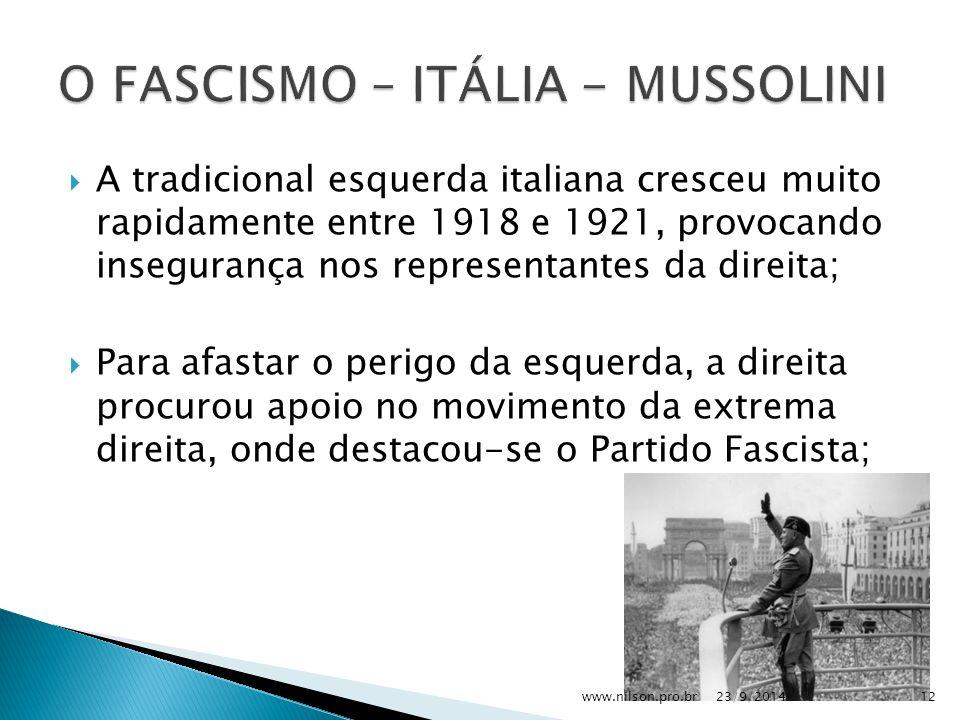  A tradicional esquerda italiana cresceu muito rapidamente entre 1918 e 1921, provocando insegurança nos representantes da direita;  Para afastar o perigo da esquerda, a direita procurou apoio no movimento da extrema direita, onde destacou-se o Partido Fascista; 23/9/201412www.nilson.pro.br