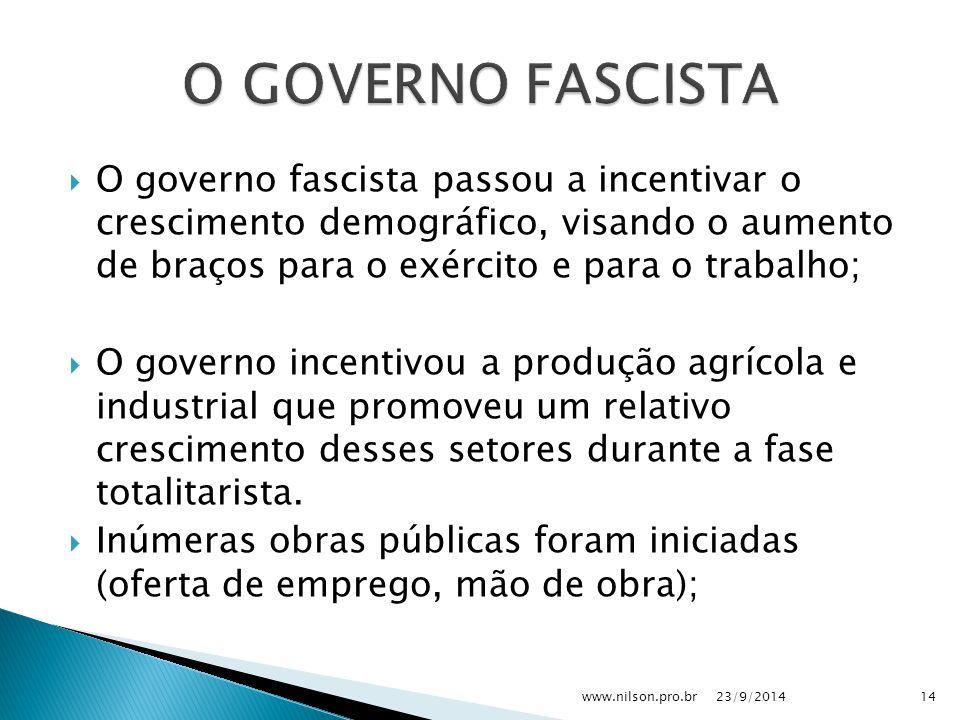  O governo fascista passou a incentivar o crescimento demográfico, visando o aumento de braços para o exército e para o trabalho;  O governo incenti