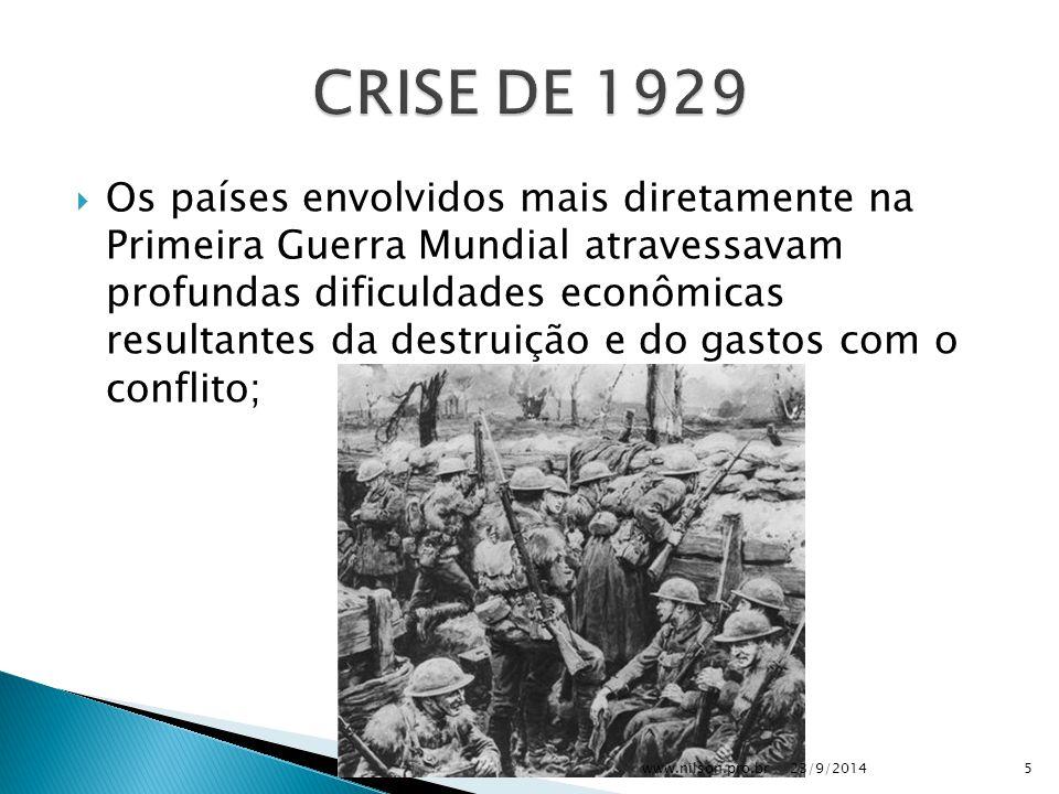  Os países envolvidos mais diretamente na Primeira Guerra Mundial atravessavam profundas dificuldades econômicas resultantes da destruição e do gastos com o conflito; 23/9/20145www.nilson.pro.br