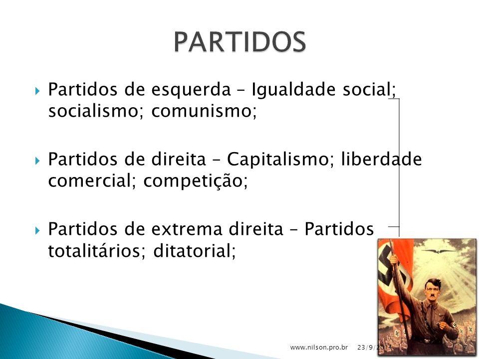  Partidos de esquerda – Igualdade social; socialismo; comunismo;  Partidos de direita – Capitalismo; liberdade comercial; competição;  Partidos de extrema direita – Partidos totalitários; ditatorial; 23/9/20147www.nilson.pro.br