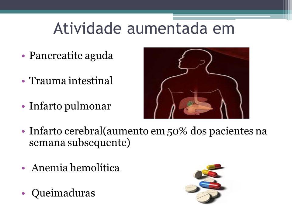 Atividade aumentada em Pancreatite aguda Trauma intestinal Infarto pulmonar Infarto cerebral(aumento em 50% dos pacientes na semana subsequente) Anemi