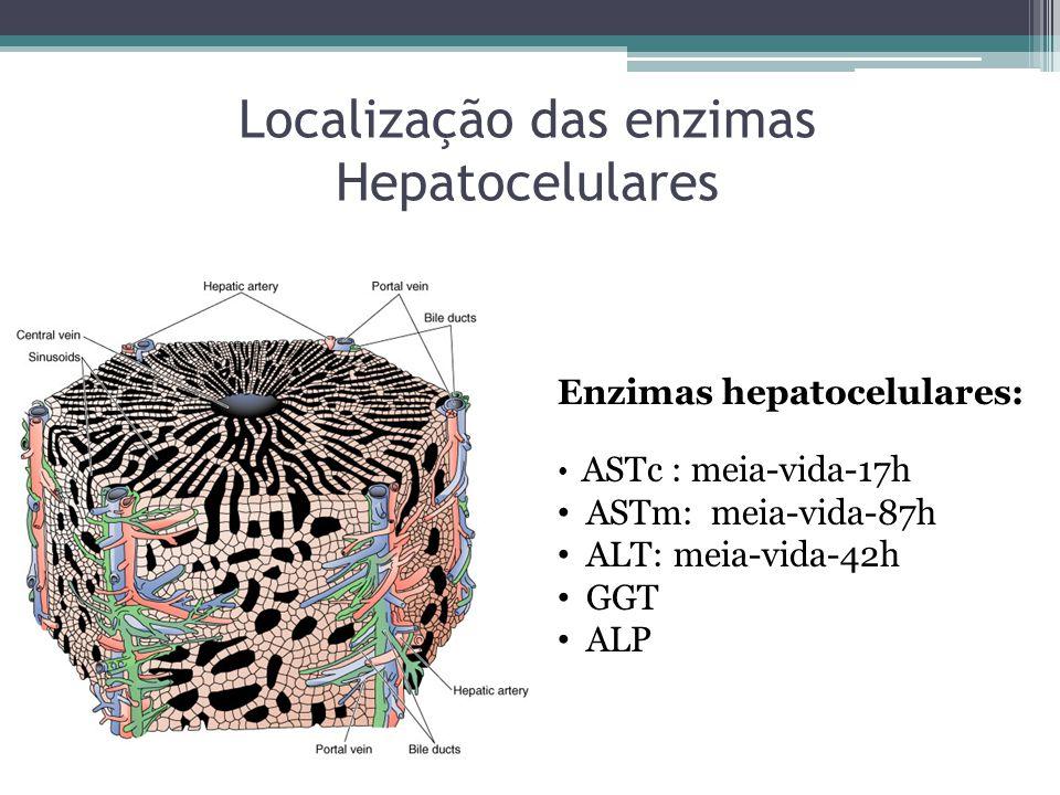 Localização das enzimas Hepatocelulares Enzimas hepatocelulares: ASTc : meia-vida-17h ASTm: meia-vida-87h ALT: meia-vida-42h GGT ALP