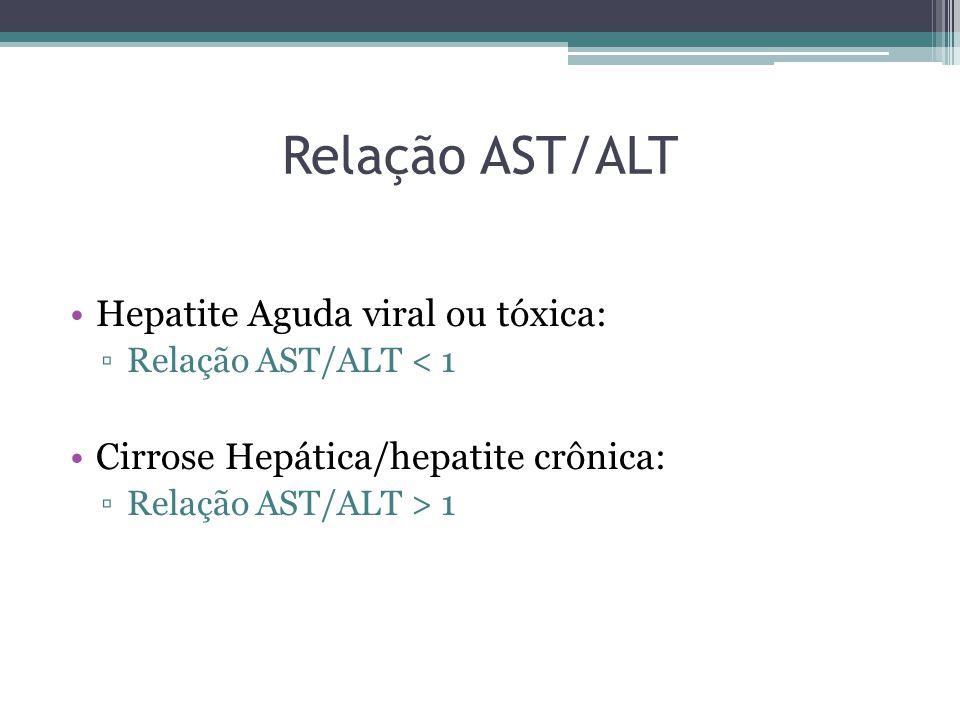 Relação AST/ALT Hepatite Aguda viral ou tóxica: ▫Relação AST/ALT < 1 Cirrose Hepática/hepatite crônica: ▫Relação AST/ALT > 1