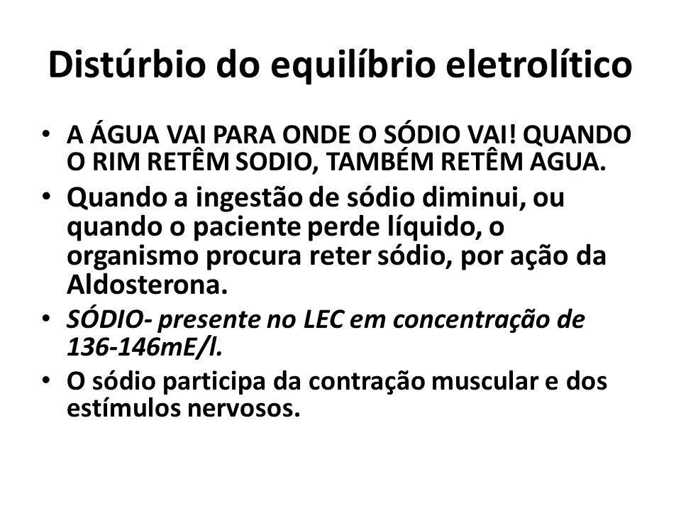 Distúrbio do equilíbrio eletrolítico A ÁGUA VAI PARA ONDE O SÓDIO VAI.