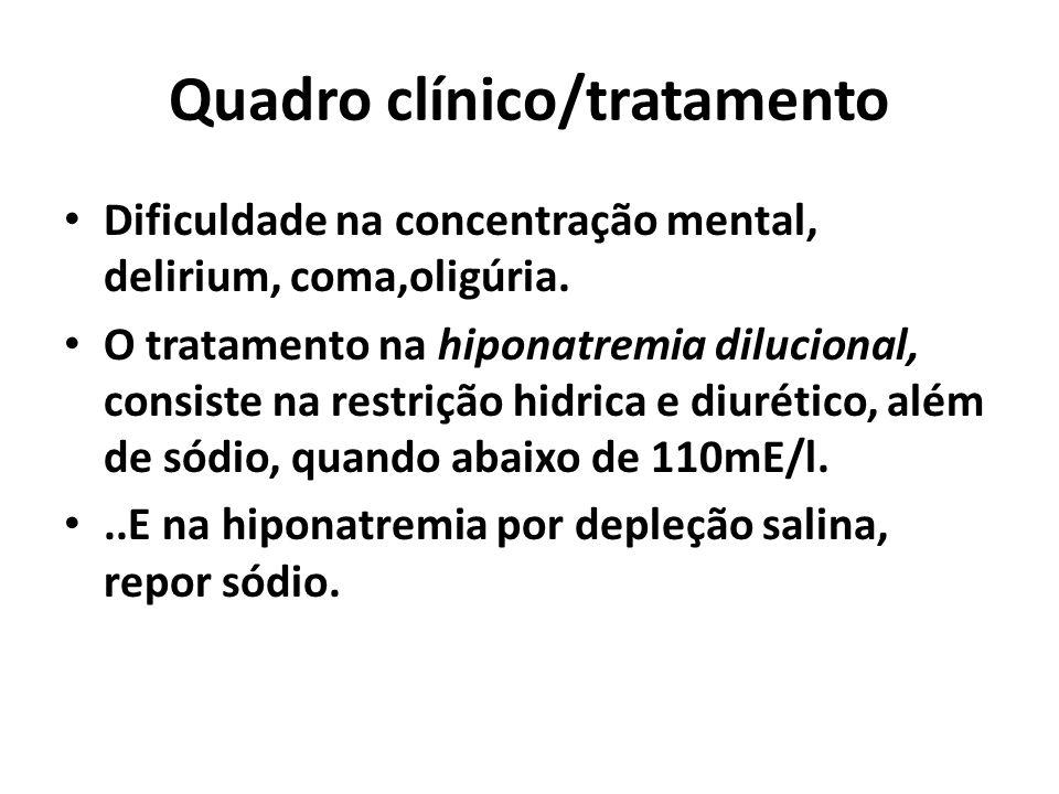 Quadro clínico/tratamento Dificuldade na concentração mental, delirium, coma,oligúria. O tratamento na hiponatremia dilucional, consiste na restrição