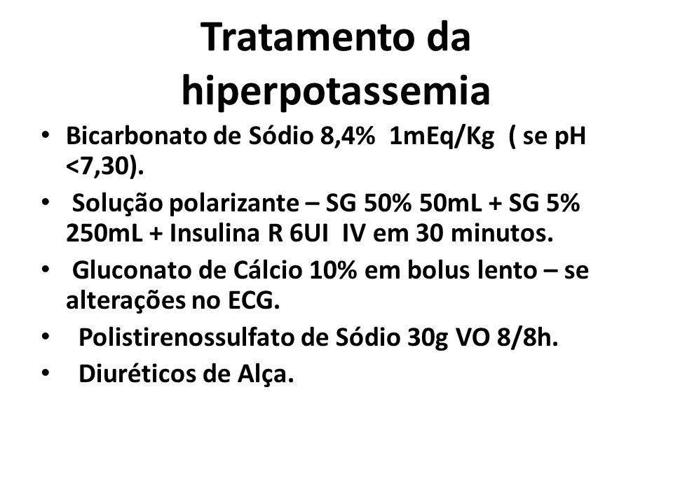 Tratamento da hiperpotassemia Bicarbonato de Sódio 8,4%  1mEq/Kg ( se pH <7,30). Solução polarizante – SG 50% 50mL + SG 5% 250mL + Insulina R 6UI IV