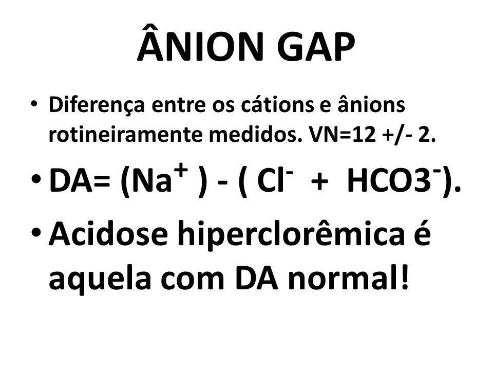 ÂNION GAP Diferença entre os cátions e ânions rotineiramente medidos. VN=12 +/- 2. DA= (Na + ) - ( Cl - + HCO3 - ). Acidose hiperclorêmica é aquela co