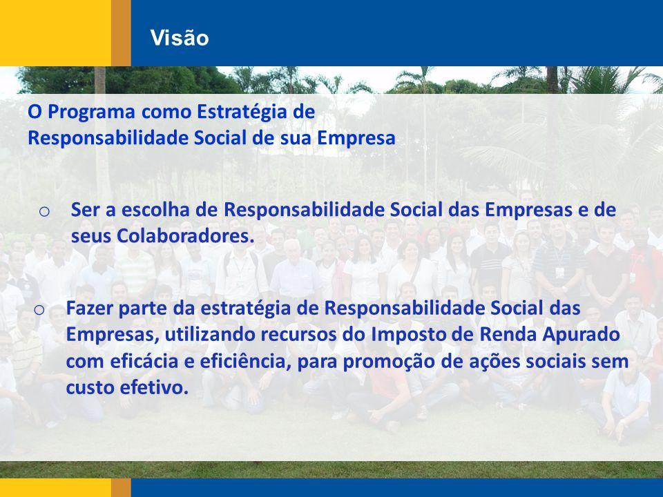 Visão o Fazer parte da estratégia de Responsabilidade Social das Empresas, utilizando recursos do Imposto de Renda Apurado com eficácia e eficiência, para promoção de ações sociais sem custo efetivo.