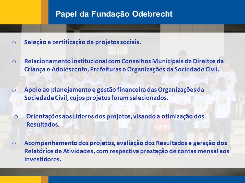 Papel da Fundação Odebrecht o Seleção e certificação de projetos sociais.