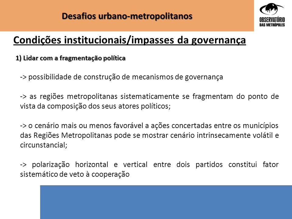 Condições institucionais/impasses da governança 1) Lidar com a fragmentação política -> possibilidade de construção de mecanismos de governança -> as