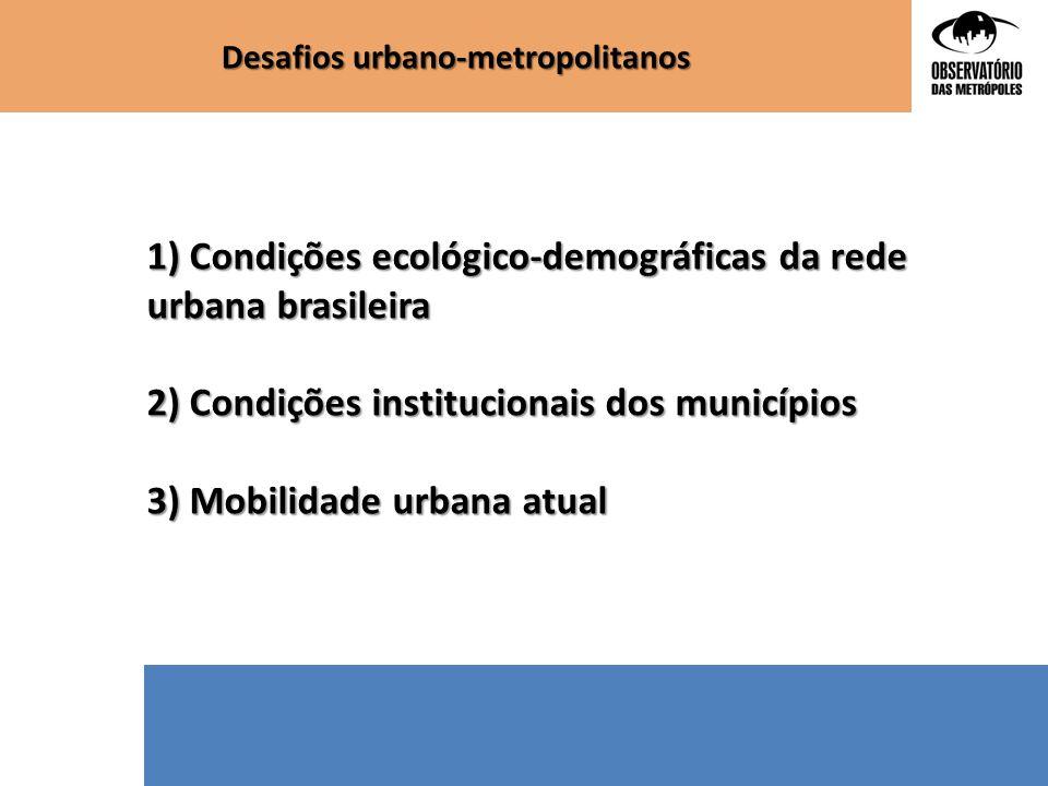 Desafios urbano-metropolitanos 1) Condições ecológico-demográficas da rede urbana brasileira 2) Condições institucionais dos municípios 3) Mobilidade