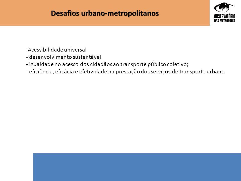 -Acessibilidade universal - desenvolvimento sustentável - igualdade no acesso dos cidadãos ao transporte público coletivo; - eficiência, eficácia e ef