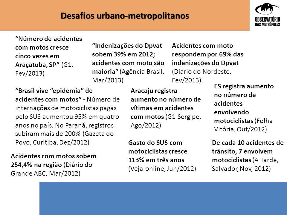 """""""Número de acidentes com motos cresce cinco vezes em Araçatuba, SP"""" (G1, Fev/2013) """"Indenizações do Dpvat sobem 39% em 2012; acidentes com moto são ma"""