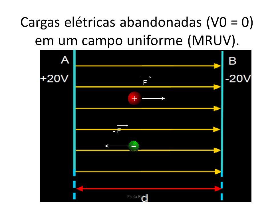 Direção e sentido da força em um campo elétrico Carga teste positiva – mesmo sentido da força Carga teste negativa – sentido oposto à força Prof.: Bot
