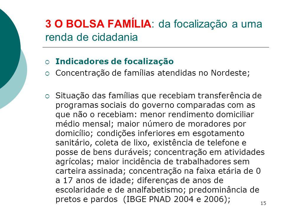 3 O BOLSA FAMÍLIA: da focalização a uma renda de cidadania  Indicadores de focalização  Concentração de famílias atendidas no Nordeste;  Situação d