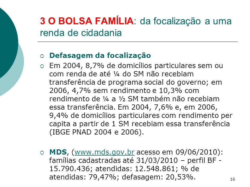 3 O BOLSA FAMÍLIA: da focalização a uma renda de cidadania  Defasagem da focalização  Em 2004, 8,7% de domicílios particulares sem ou com renda de até ¼ do SM não recebiam transferência de programa social do governo; em 2006, 4,7% sem rendimento e 10,3% com rendimento de ¼ a ½ SM também não recebiam essa transferência.