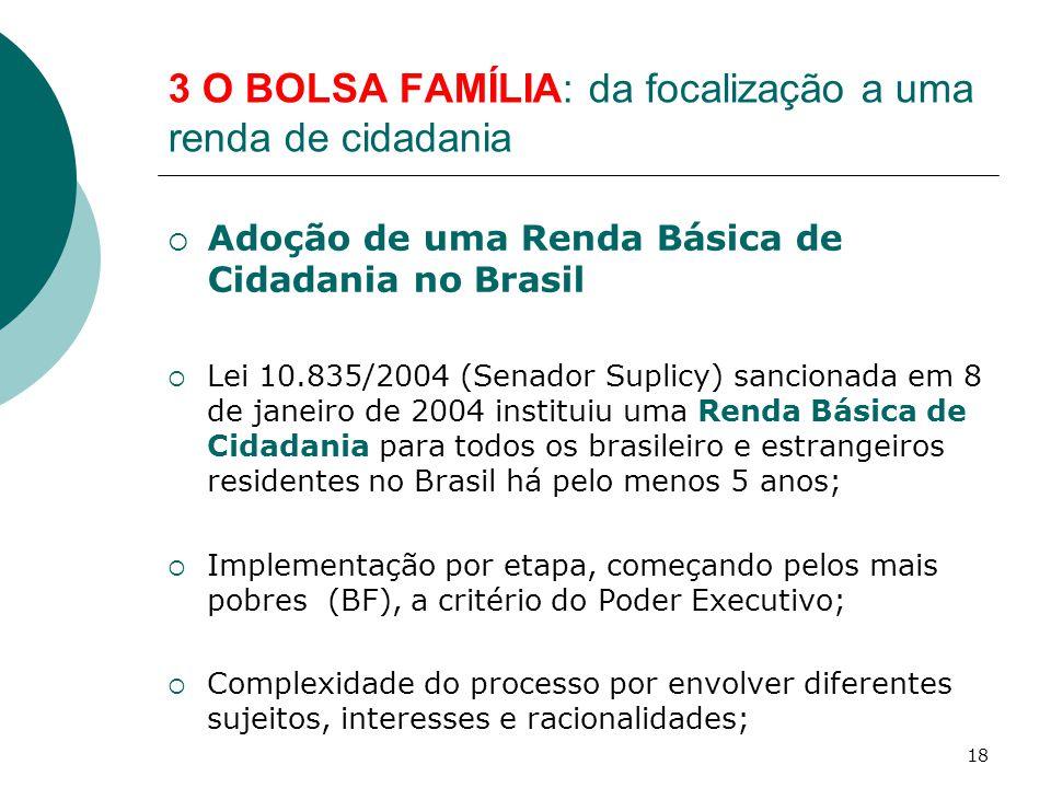 3 O BOLSA FAMÍLIA: da focalização a uma renda de cidadania  Adoção de uma Renda Básica de Cidadania no Brasil  Lei 10.835/2004 (Senador Suplicy) san