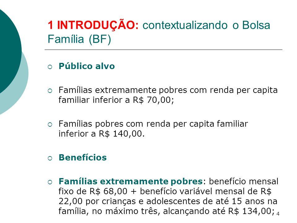 1 INTRODUÇÃO: contextualizando o Bolsa Família (BF)  Público alvo  Famílias extremamente pobres com renda per capita familiar inferior a R$ 70,00; 