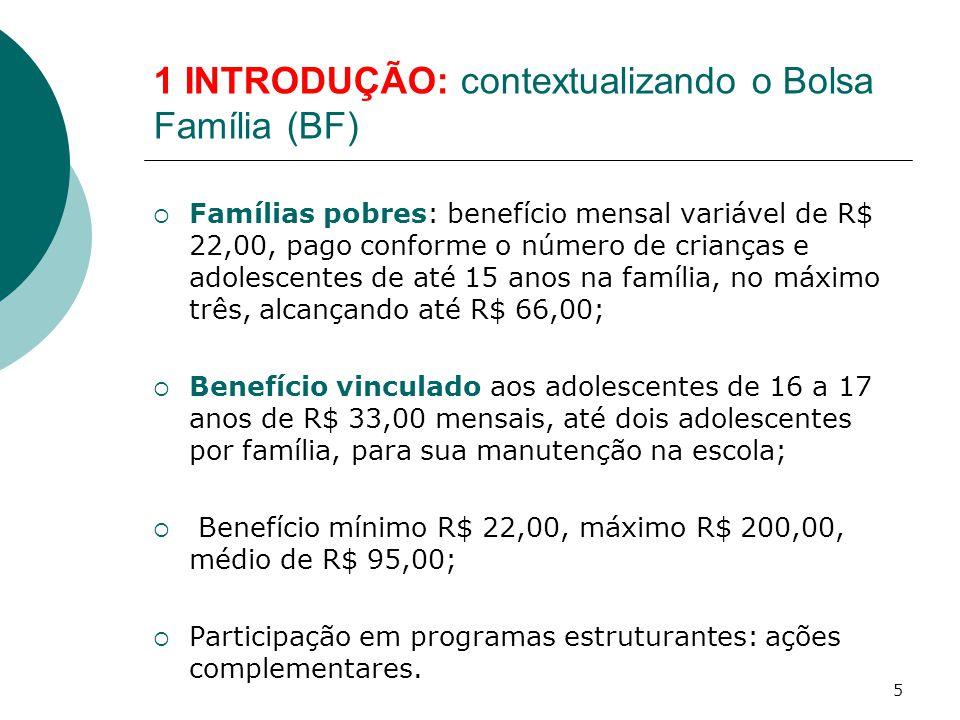1 INTRODUÇÃO: contextualizando o Bolsa Família (BF)  Famílias pobres: benefício mensal variável de R$ 22,00, pago conforme o número de crianças e adolescentes de até 15 anos na família, no máximo três, alcançando até R$ 66,00;  Benefício vinculado aos adolescentes de 16 a 17 anos de R$ 33,00 mensais, até dois adolescentes por família, para sua manutenção na escola;  Benefício mínimo R$ 22,00, máximo R$ 200,00, médio de R$ 95,00;  Participação em programas estruturantes: ações complementares.