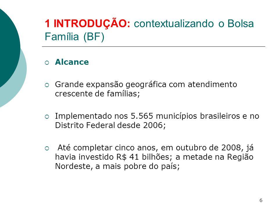 1 INTRODUÇÃO: contextualizando o Bolsa Família (BF)  Alcance  Grande expansão geográfica com atendimento crescente de famílias;  Implementado nos 5