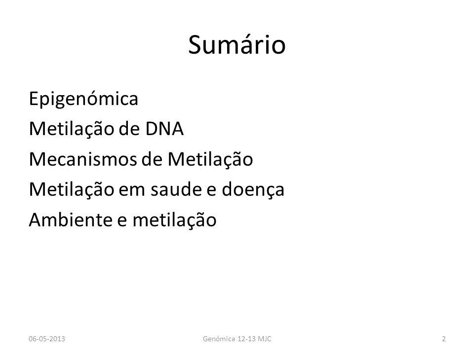 Sumário Epigenómica Metilação de DNA Mecanismos de Metilação Metilação em saude e doença Ambiente e metilação 06-05-2013Genómica 12-13 MJC2