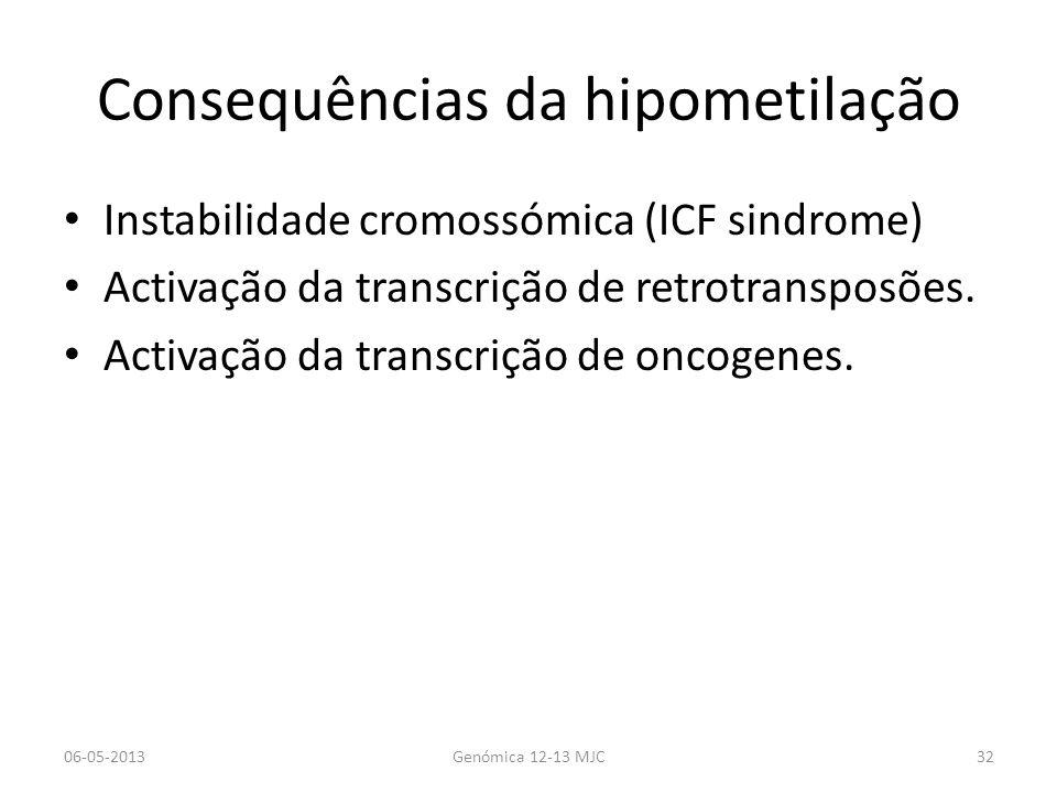 Consequências da hipometilação Instabilidade cromossómica (ICF sindrome) Activação da transcrição de retrotransposões. Activação da transcrição de onc