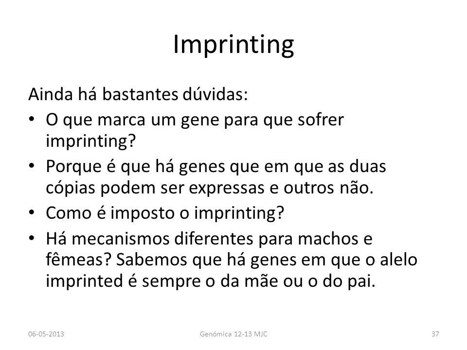 Imprinting Ainda há bastantes dúvidas: O que marca um gene para que sofrer imprinting? Porque é que há genes que em que as duas cópias podem ser expre
