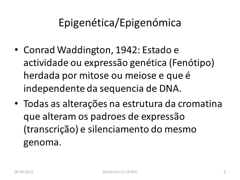 Epigenética/Epigenómica As alterações epigenéticas alteram o fenótipo sem alterarem a sequência Epigenética refere-se ao estudo de um gene ou conjunto de genes e epigenomica refere-se ao conjunto de alterações epigenéticas de um genoma.