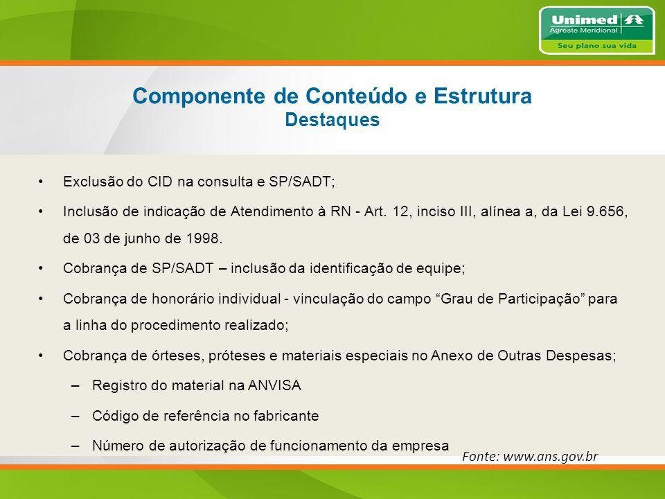 Componente de Conteúdo e Estrutura Destaques Exclusão do CID na consulta e SP/SADT; Inclusão de indicação de Atendimento à RN - Art.