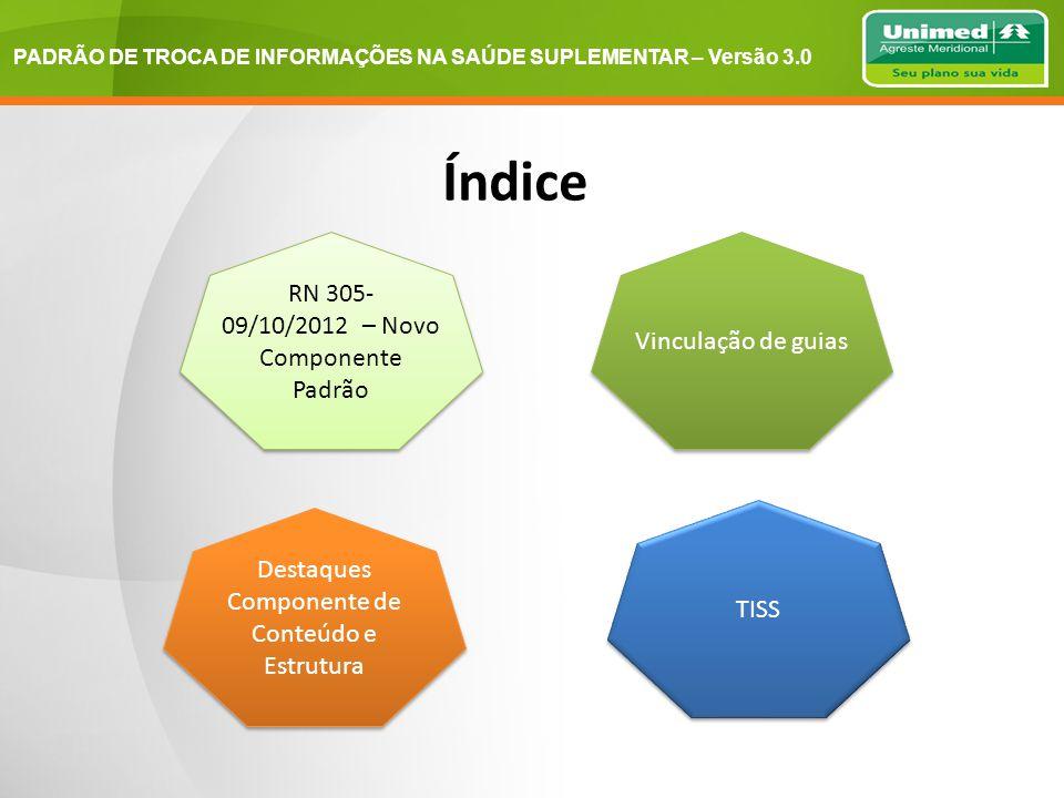 PADRÃO DE TROCA DE INFORMAÇÕES NA SAÚDE SUPLEMENTAR – Versão 3.0 Índice RN 305- 09/10/2012 – Novo Componente Padrão Vinculação de guias Destaques Componente de Conteúdo e Estrutura TISS