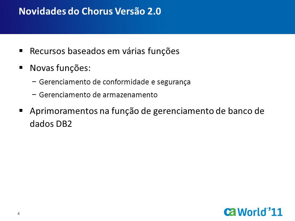  Recursos baseados em várias funções  Novas funções: − Gerenciamento de conformidade e segurança − Gerenciamento de armazenamento  Aprimoramentos na função de gerenciamento de banco de dados DB2 Novidades do Chorus Versão 2.0 4