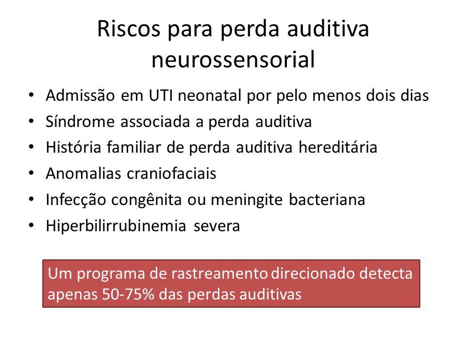 Riscos para perda auditiva neurossensorial Admissão em UTI neonatal por pelo menos dois dias Síndrome associada a perda auditiva História familiar de perda auditiva hereditária Anomalias craniofaciais Infecção congênita ou meningite bacteriana Hiperbilirrubinemia severa Um programa de rastreamento direcionado detecta apenas 50-75% das perdas auditivas